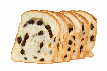 sliced raisin bread isolated on white background