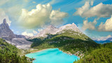 Panoramic view of Lake Sorapiss, faboulous landscape of Dolomite