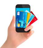Credit cards in a phone. Internet banking concept. Vector