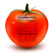 Tomato with a nutrition facts label. Concept of healthy food. Ve