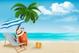 Beach with palm trees and beach chair. Summer vacation concept b