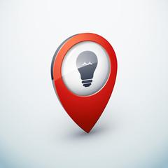 icône épingle punaise marqueur ampoule idée