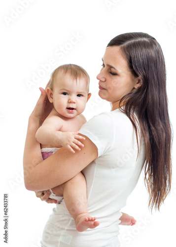 mom holding baby isolated on white