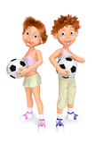 Boy and girl with balls for soccer