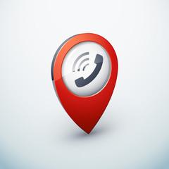 icône épingle punaise marqueur carte internet téléphone