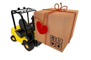 Postal parcel on loader