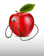 Stethoscope and red apple. Medical background. Vector