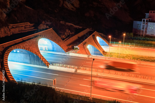 highway tunnel at night - 62434167