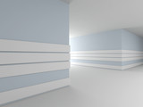 Abstract modern interior, corridor. 3D rendering.