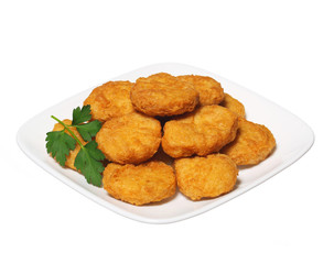 Chicken nuggets in plate isolated on white