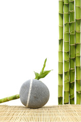 Zen stone with bamboo grove on stick straw mat