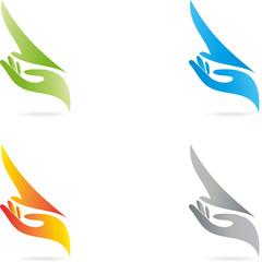 Logo, Vogel, Hand, Phoenix