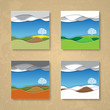 four season background cards vector