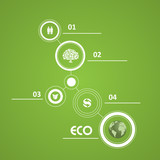 Flat green ecology infographic vector signs
