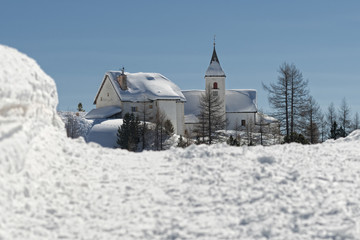 mountain church in winter