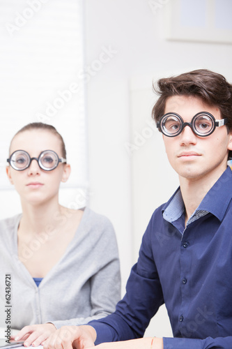Cute Nerd Guy and Girl