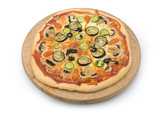 vegetarian pizza with vegetables on white background
