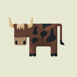 Cute brown cartoon bull with horns and spots