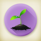 Plant, long shadow vector icon