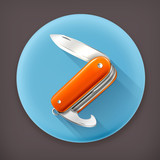 Pocket knife long shadow vector icon