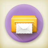 Post office, long shadow vector icon