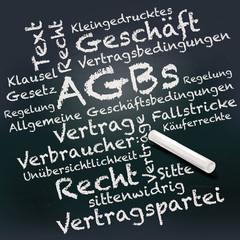 Tafel und Kreide mit AGBs