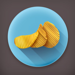 Potato chips long shadow vector icon