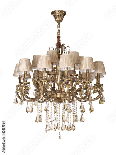 Vintage chandelier isolated, clipping path included