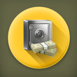 Safe and money, long shadow vector icon