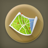 Road Map, long shadow vector icon