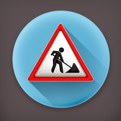 Roadworks sign long shadow vector icon