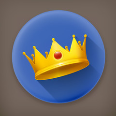 Royal crown, long shadow vector icon