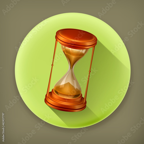 Sand glass, long shadow vector icon