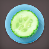 Slice of cucumber long shadow vector icon
