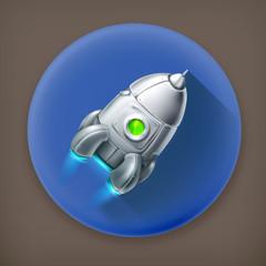 Spacecraft long shadow vector icon