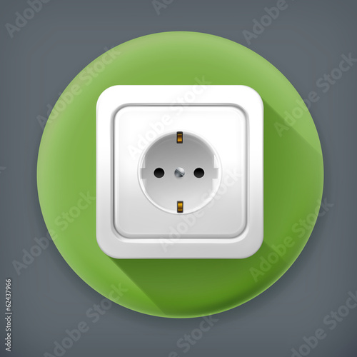 Socket long shadow vector icon