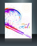 Beautiful indian holi colorful card brochure celebration templat