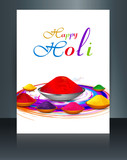 Vector brochure of Indian colorful festival Holi with gulal of c