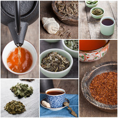 Tea set with tea crop and mug
