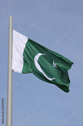 flag of Pakistan over blue sky