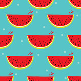 Cute seamless pattern with watermelon.