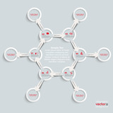 6 White Rings 6 Arrows Cycle Hexagon Molecule