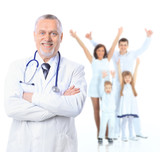 Family doctor and patients. Health care