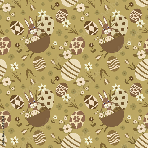 Gold and brown seamless pattern with Easter related elements.
