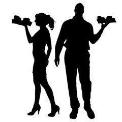 Vector waiter silhouette.