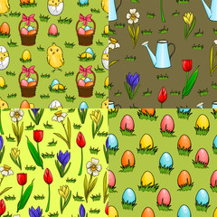 Set of four seamless patterns for Easter