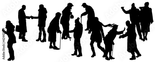 Vector silhouette of people in winter clothes.