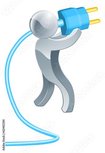 Person holding plug