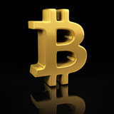 Gold Bitcoin on black