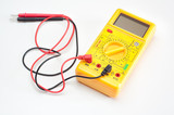 Digital yellow clamp meter isolated